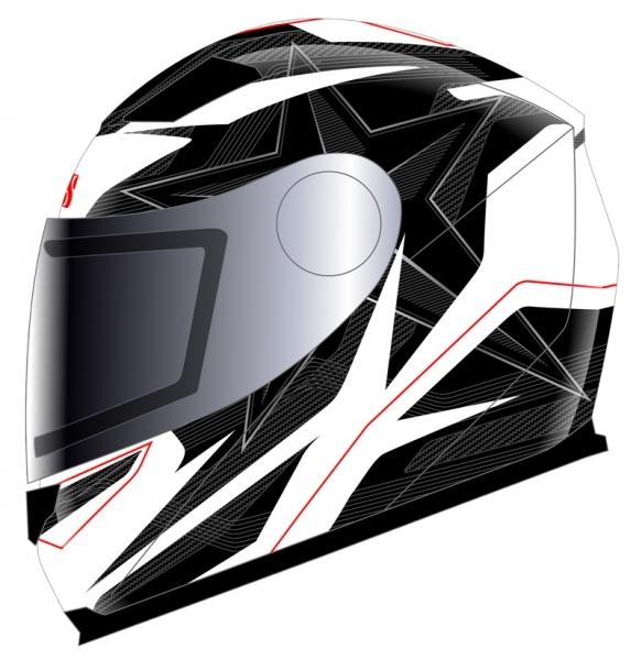 IXS Шлем HX 135 white/black/red 52