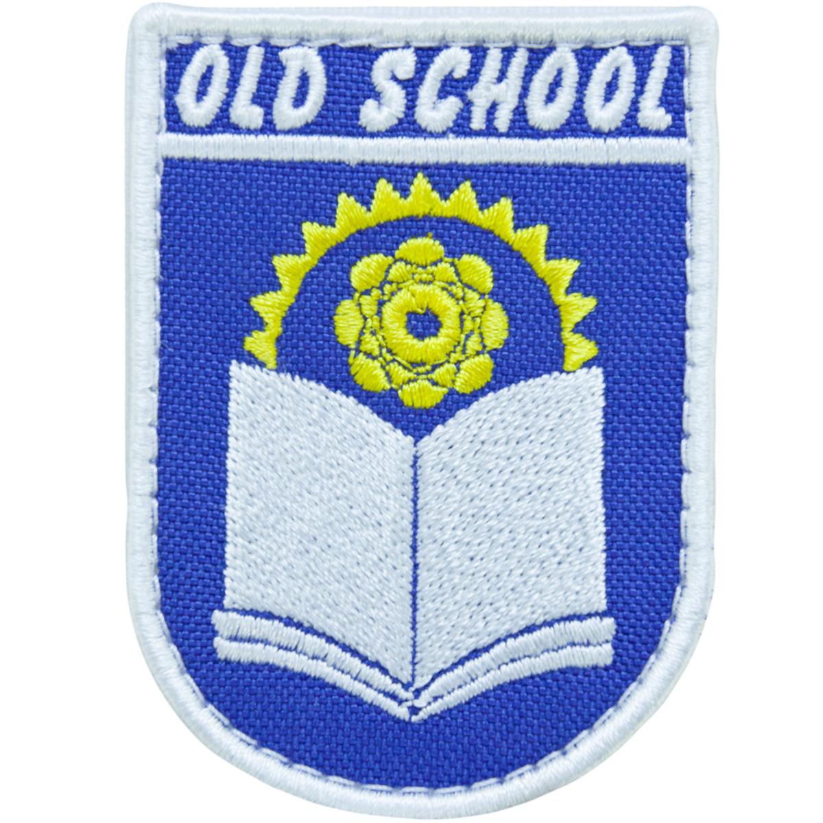 """Нашивка (шеврон патч patch)  """"OLD SCHOOL"""" тактическая вышитая на липуче 8х5,5 синяя"""