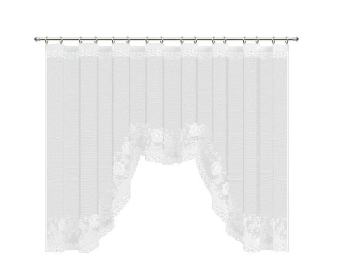 Тюль для кухни на ленте, 285х160 см, сетка, цвет белый-20769