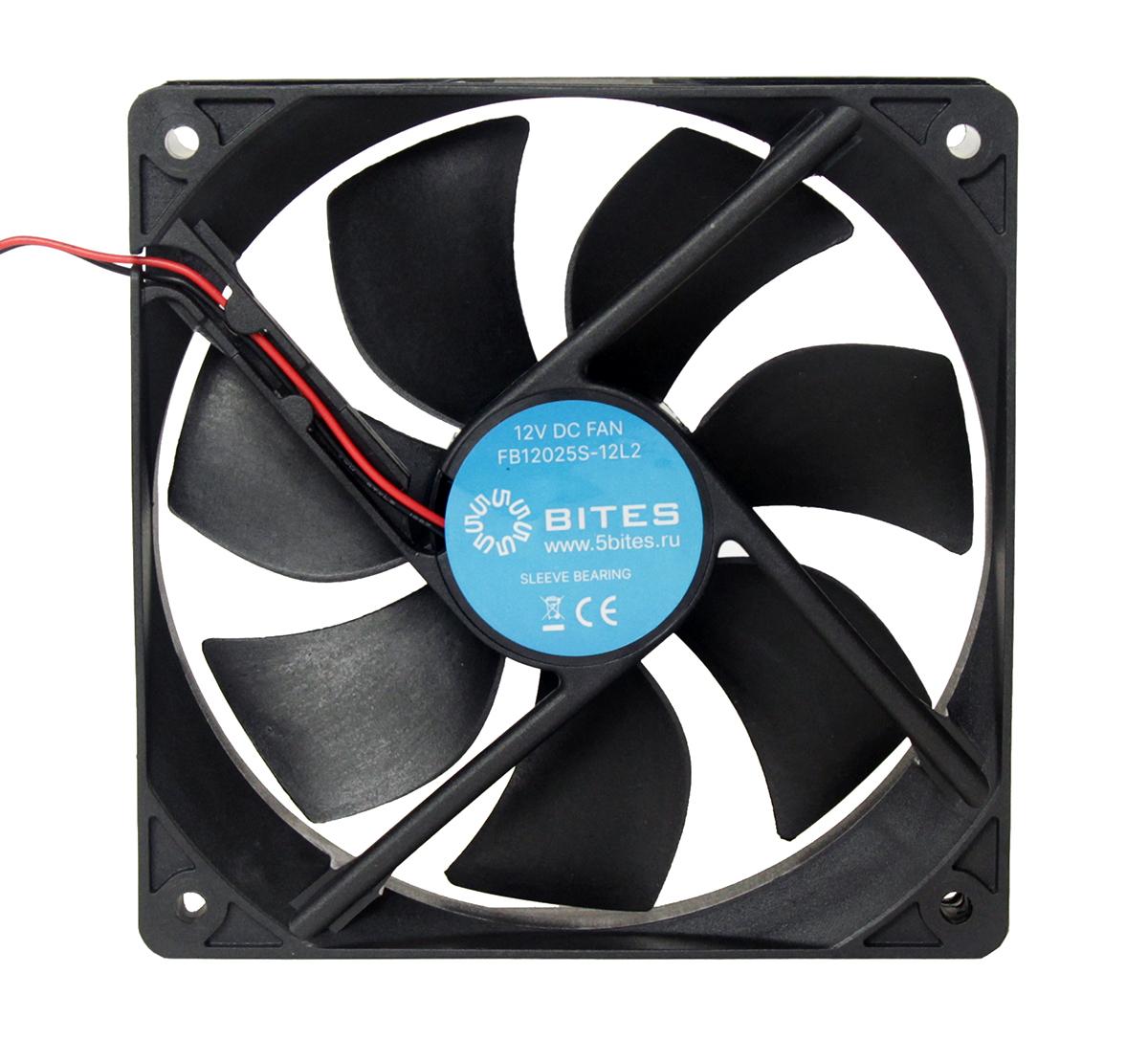 Вентилятор 5bites FB12025S-12L2, 120x120x25мм, подшипник скольжения, 1200rpm, 25 дБ, 2pin