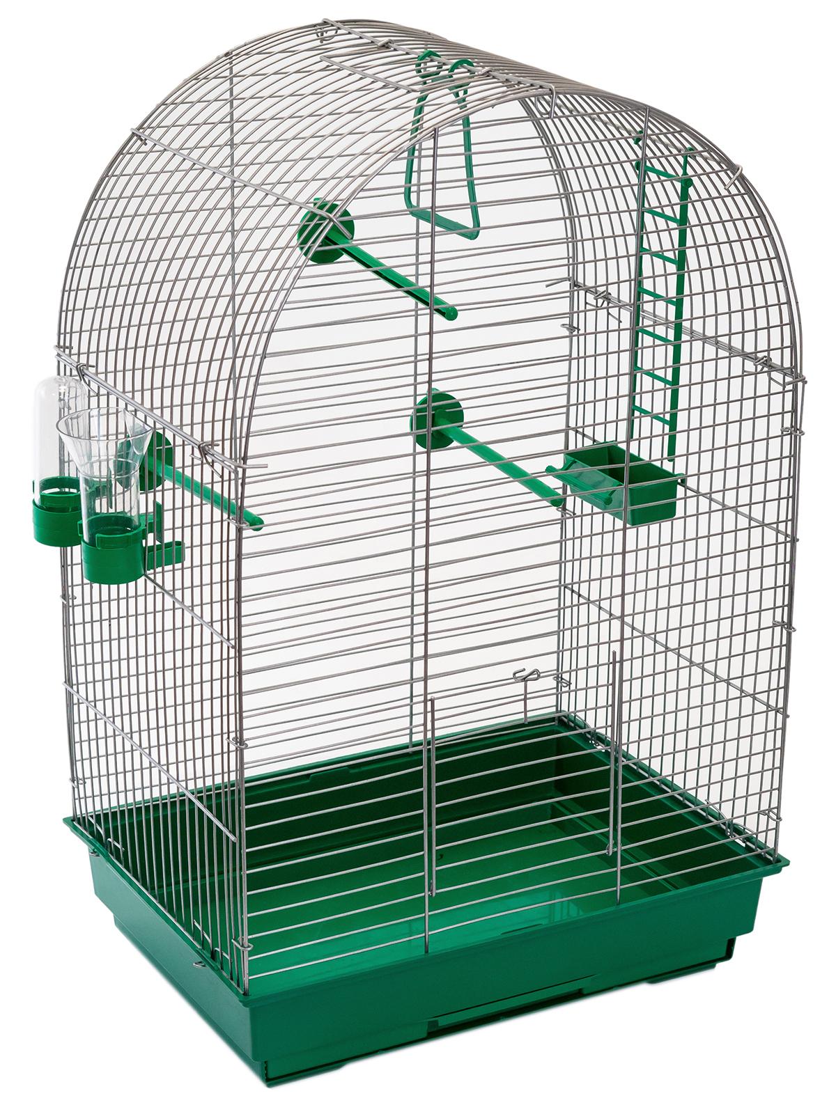 клетка для птиц, для попугаев pettails кеша, разборная, шаг прута 12мм,42*30*65 (поилка,кормушка,жердочки) изумрудный