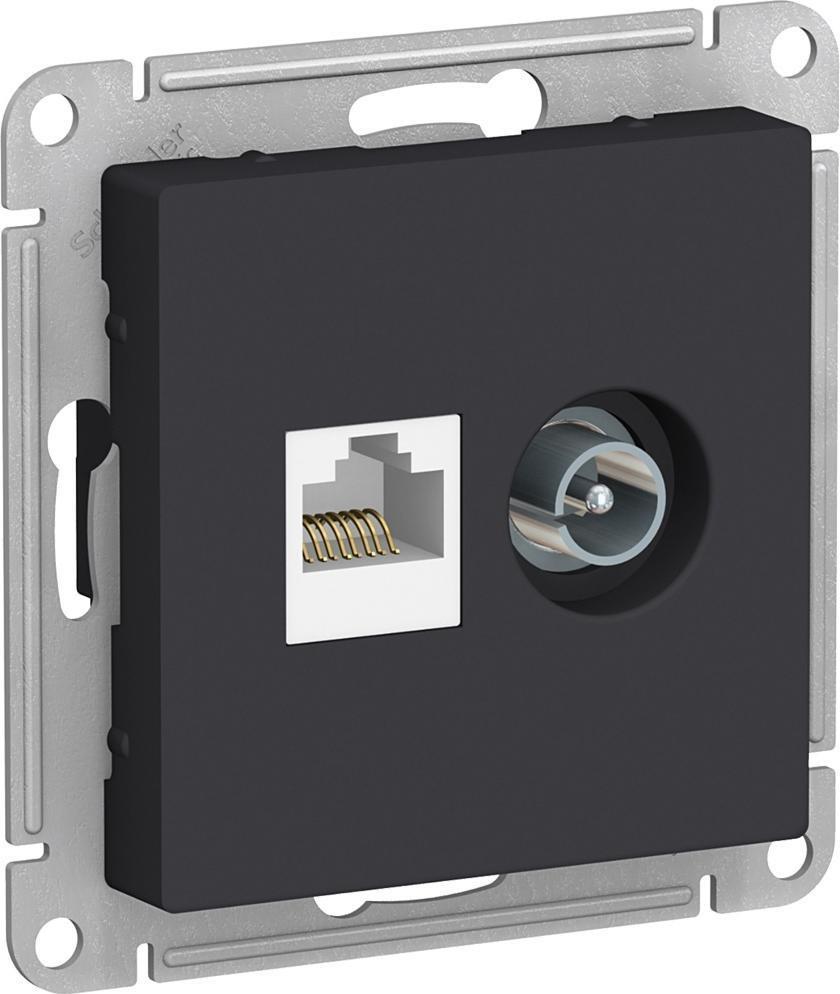 Механизм телевизионной и компьютерной розетки Schneider Electric AtlasDesign TV + RJ45 категория 5е карбон #1