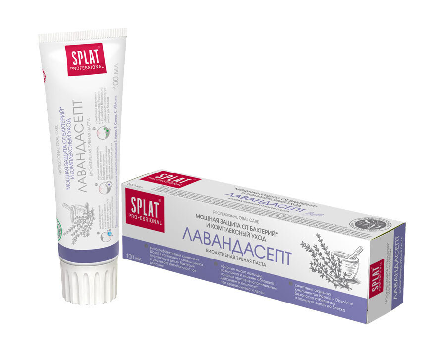 Зубная паста без фтора Splat Lavandasept для чувствительных зубов с эфирными маслами лаванды, розмарина #1