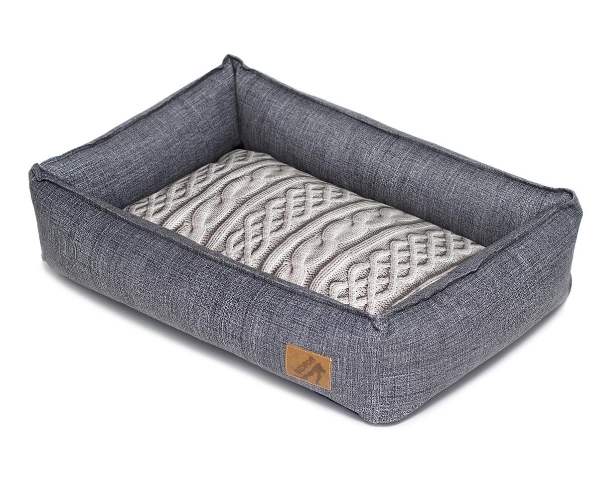 Лежанка Bedfor со съемными чехлами, цвет Серый, размер 60*45 см  #1