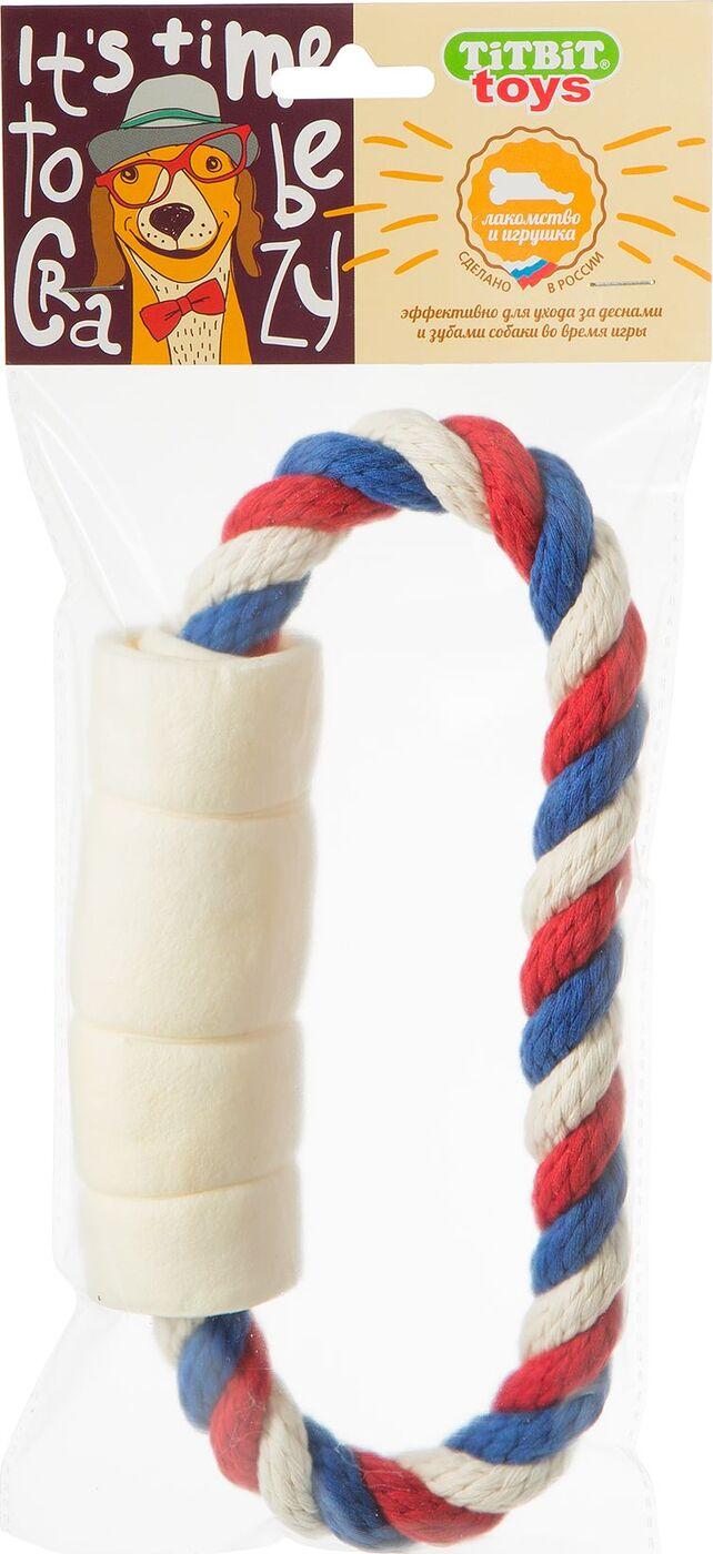 Игрушка с лакомством для собак Titbit Тяни-толкай. Кольцо, с рулетом из говяжьей кожи игрушка для собак chomper тяни толкай мяч с петлями из каната