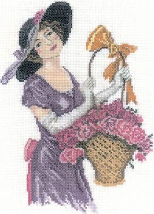Набор для вышивания РТО Прелестная цветочница (15х21 см., Аида 18) набор для вышивания крестом рто 3 5 х 5 5 см fa012