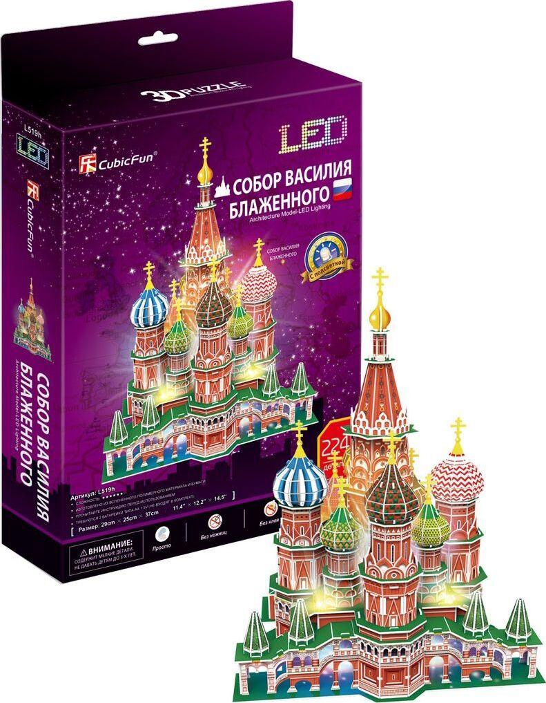 3D пазл CubicFun Собор Василия Блаженного, с подсветкой, Россия