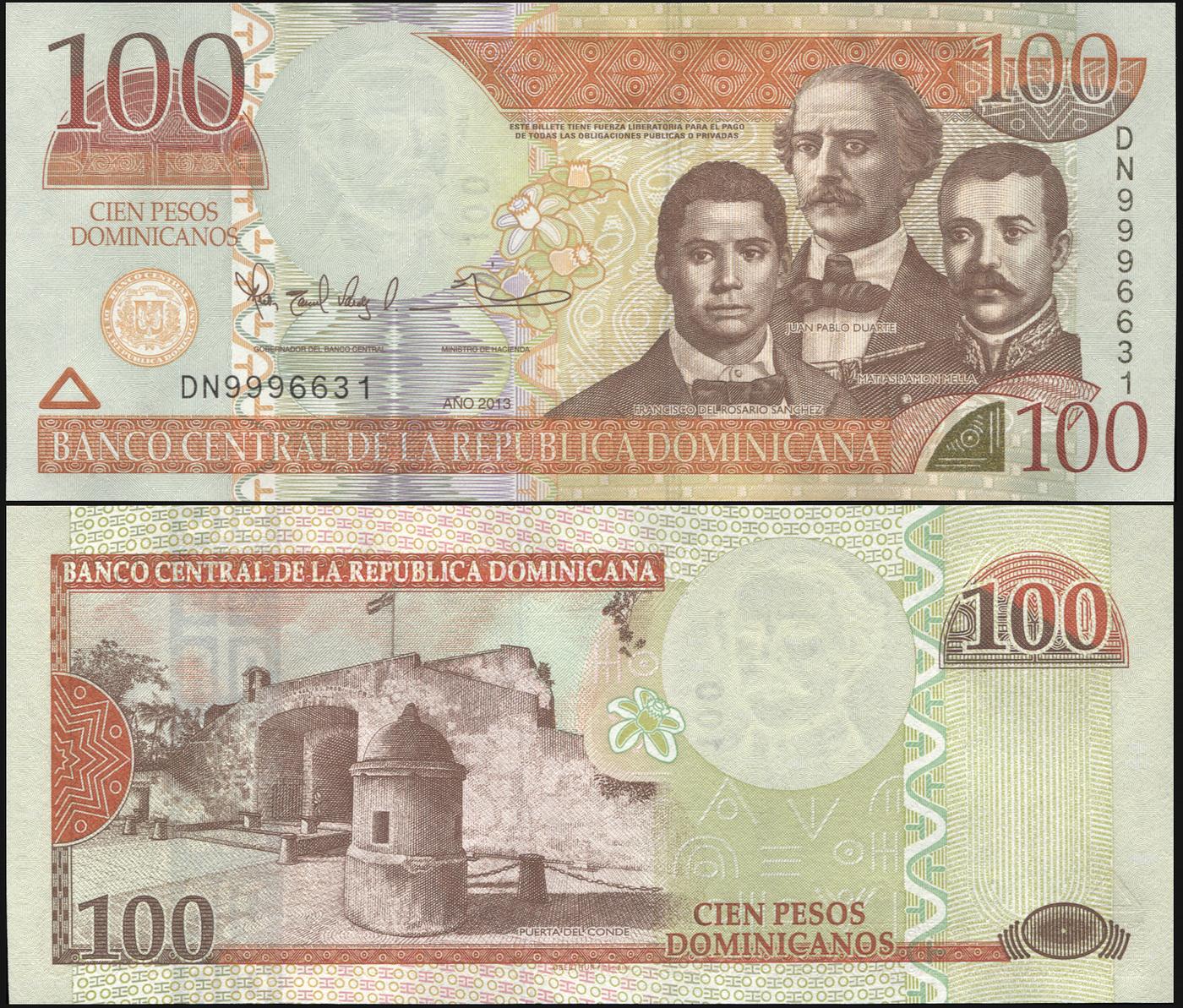 Банкнота. Доминиканская республика 100 песо доминикано. 2013 UNC. Кат.P.184b