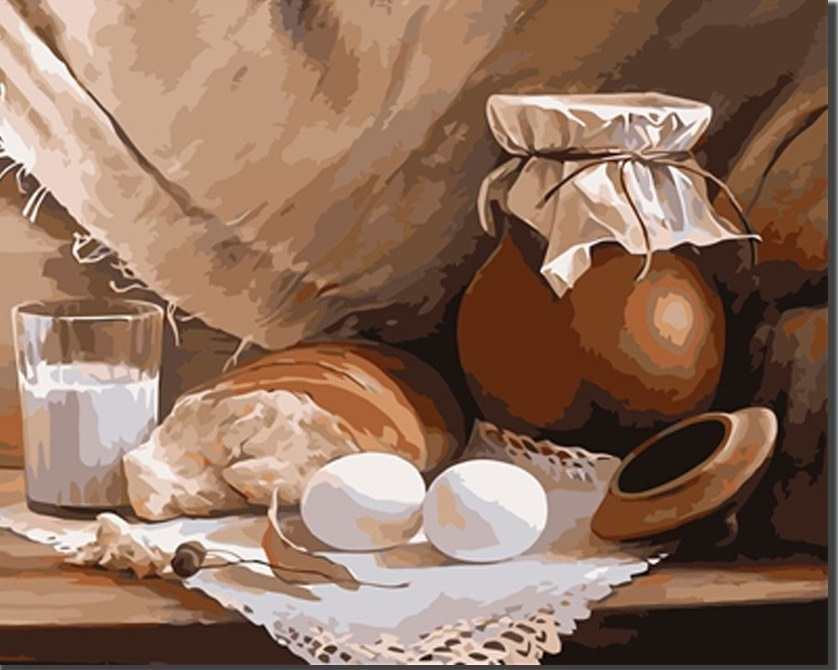 Картина по номерам на холсте Натюрморт с молоком, 40х50см
