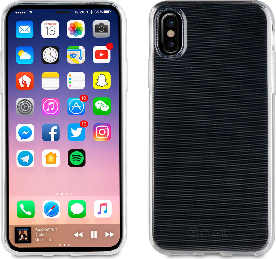 Чехол-накладка Muvit CRYSTAL SOFT CASE для Apple iPhone X/XS, прозрачный чехол для сотового телефона muvit crystal case для iphone 6 6s mucry0030 прозрачный