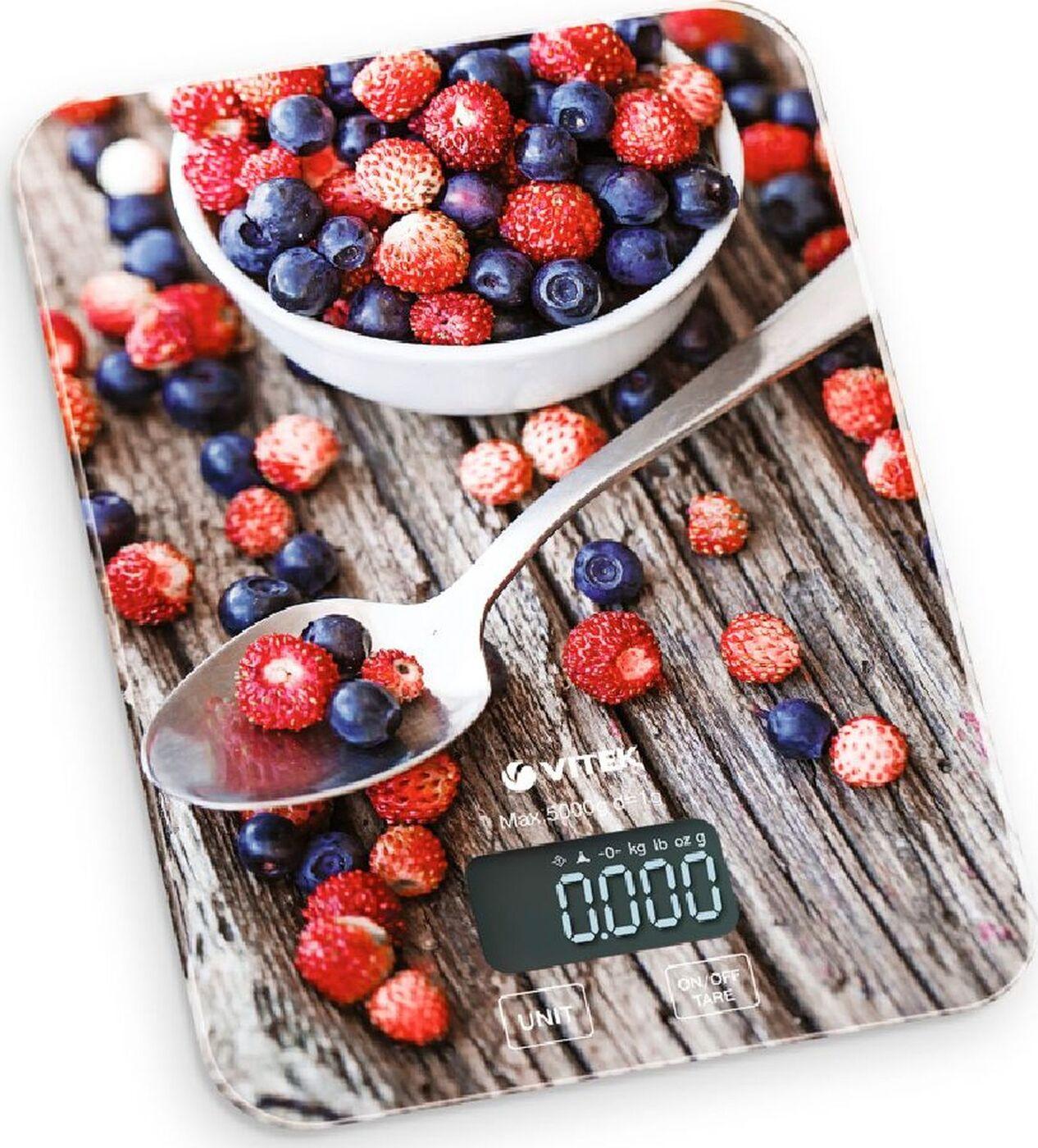 8000-VT(MC) Весы кухонные VITEK Максимальный вес 5 кг, Цена деления 1г.LCD дисплей 57х25.6 mm.