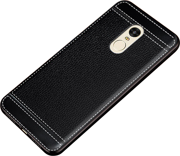 Чехол-накладка MyPads на Meizu M15 Plus / Meizu 15 Plus из качественного износостойкого силикона с декоративным дизайном под кожу с тиснением черный