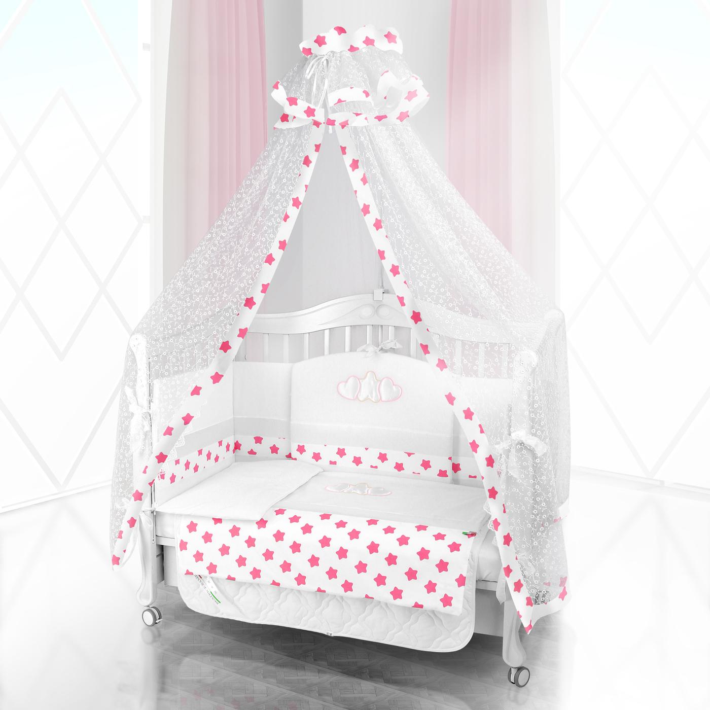 Комплект постельного белья Beatrice Bambini Unico Grande Stella (125х65) - bianco& rosa