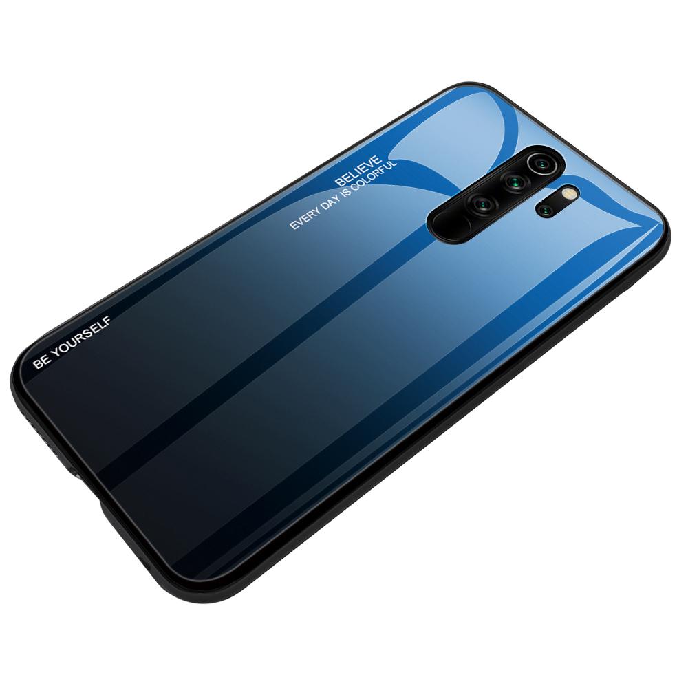 Чехол-бампер MyPads для Honor 9X (STK-LX1) Huawei Honor 9X Premium стеклянный из закаленного стекла с эффектом градиент зеркальный блестящий переливающийся синий
