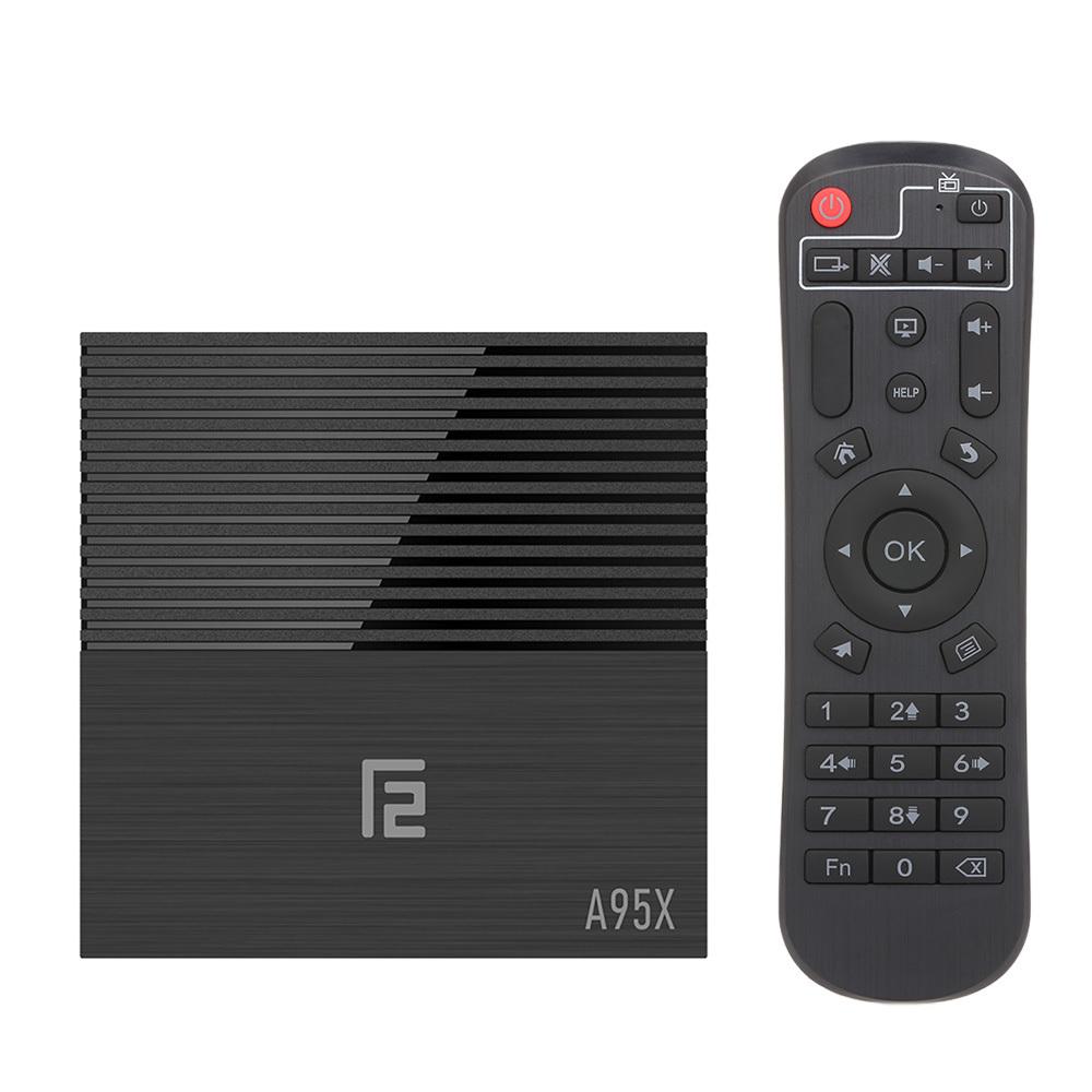 A95X F2 Android 9.0 Smart TV Box Cortex-A53 Четырехъядерный процессор H.265 4K VP9 4 ГБ + 32 ГБ 2.4 Г Wi-Fi HD Медиаплеер Дисплей времени Поддержка видеоплеера 32 ГБ TF-карта Пульт дистанционного управления ЕС Plug