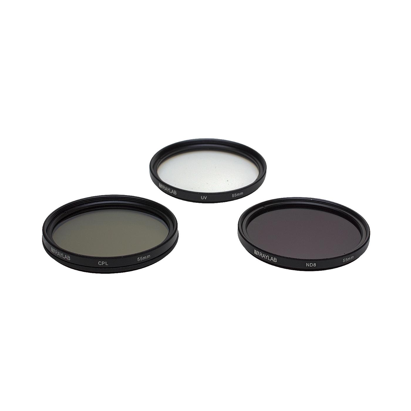Набор из 3 фильтров RayLab (UV,CPL,ND8) 55mm