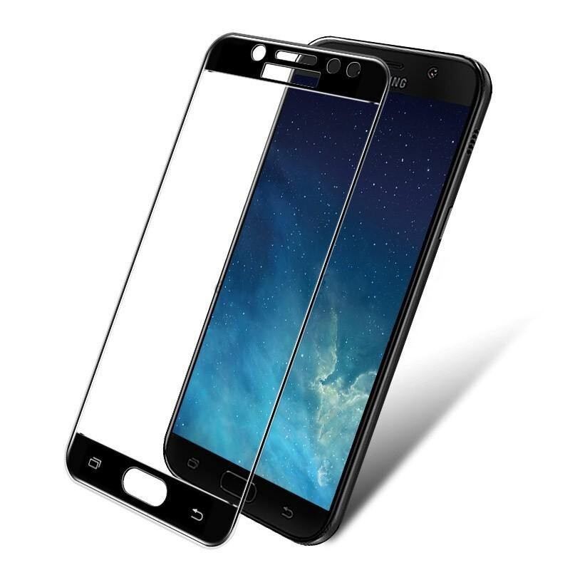 Защитное стекло Wewo для Samsung J7 (2018) с рамкой Full Glue (черное)