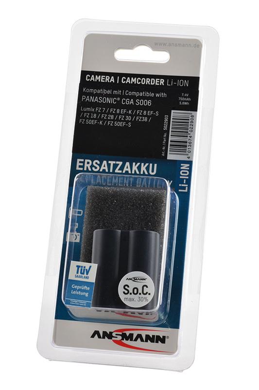 Аккумулятор CGA S006 для фотоаппаратов Panasonic DMC FZ7/FZ8/FZ18/FZ28/FZ30/FZ38/FZ50, DMC FZ150, Leica V Lux 1 (Ansmann)