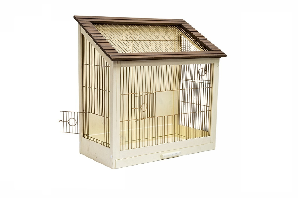 "клетка для птиц дарэлл zoo-m ""ретро - кантри"" 40x29x61см (цвет - золотистый)"