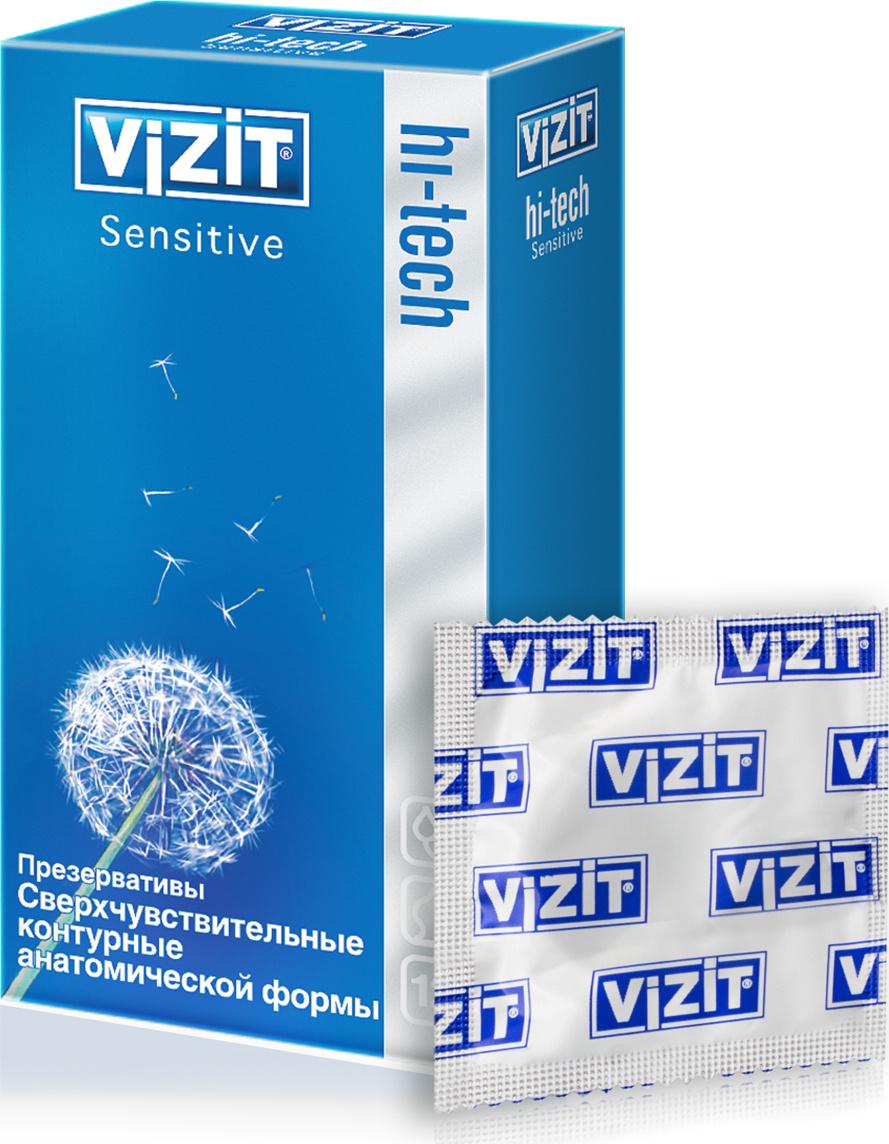 VIZIT Презервативы HI-TECH Sensitive, сверхчувствительные, контурные, анатомической формы, 12 шт  #1