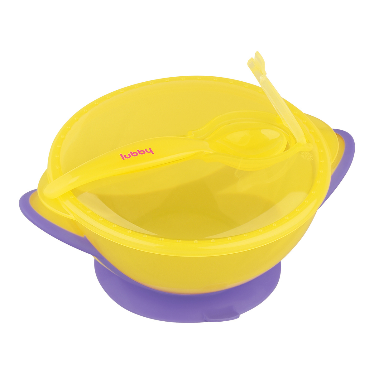 Набор для кормления Lubby тарелка на присоске с крышкой и ложкой, от 6 месяцев  #1