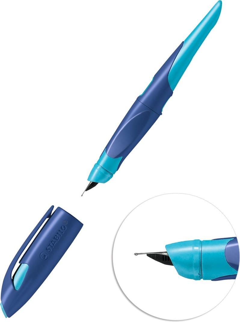 Ручка перьевая STABILO EASYbirdy, для правшей, с картриджем, цвет корпуса синий голубой, в коробке  #1