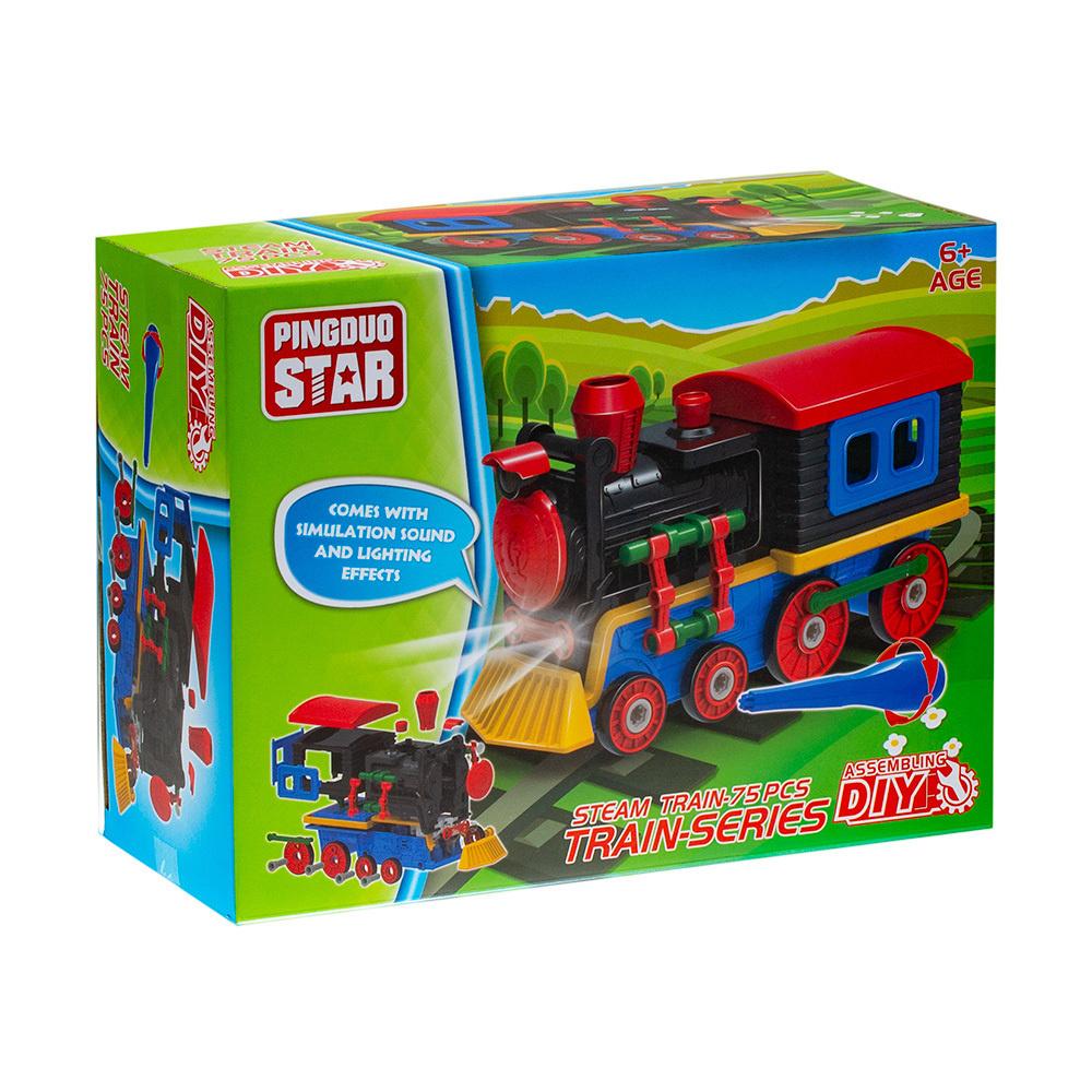Игрушка конструктор паровоз 76 деталей (свет,звук) #1