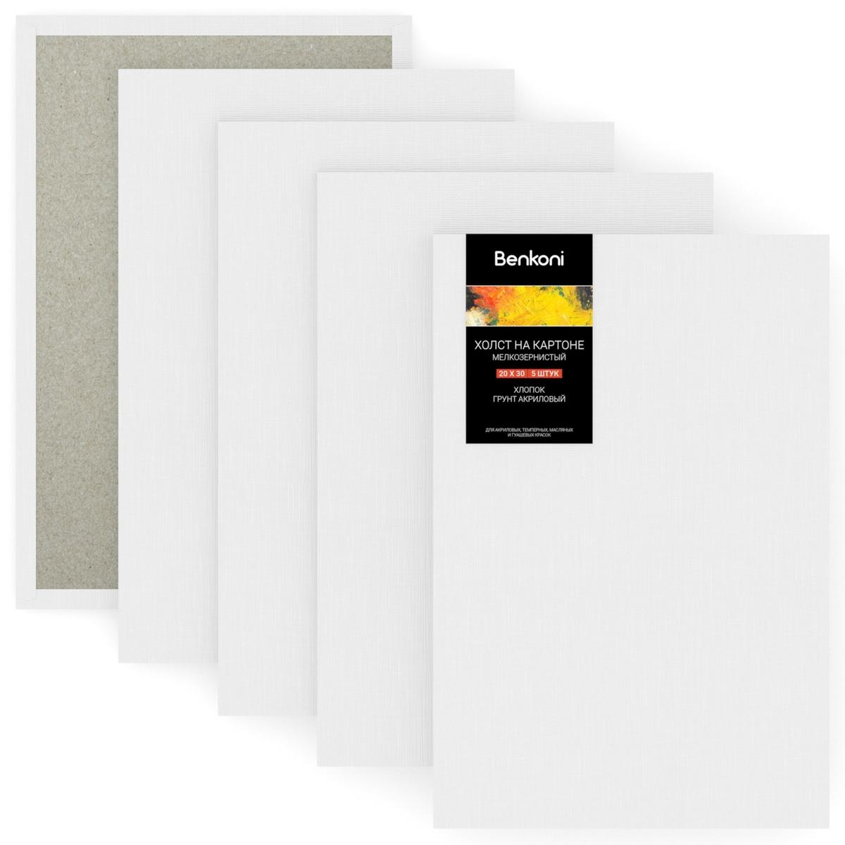 Набор холстов на картоне, грунтованный мелкозернистый хлопок 280 г/м2, 20х30 см, 5 шт  #1