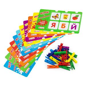 """Развивающие игрушки Игры с прищепками Alatoys """"Учим буквы"""", 10 карточек 24 прищепки. Вместе дешевле!"""