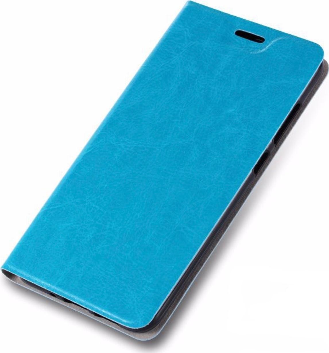Чехол-книжка MyPads для ZTE Blade A530 на жёсткой металлической основе голубой