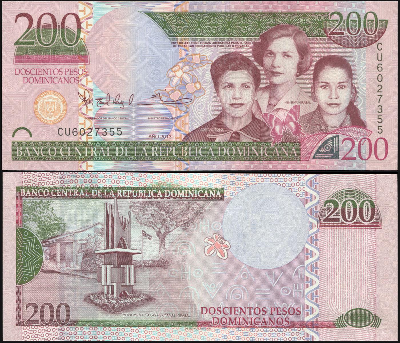 Банкнота. Доминиканская республика 200 песо доминикано. 2013 UNC. Кат.P.185a