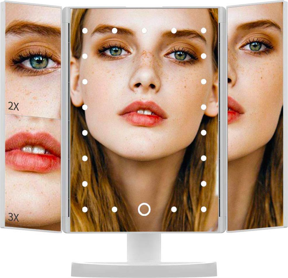 LIKES Зеркало для макияжа с подсветкой настольное, Косметическое, Увеличивающее, 22 LED Светодиодные лампочки с сенсорной кнопкой