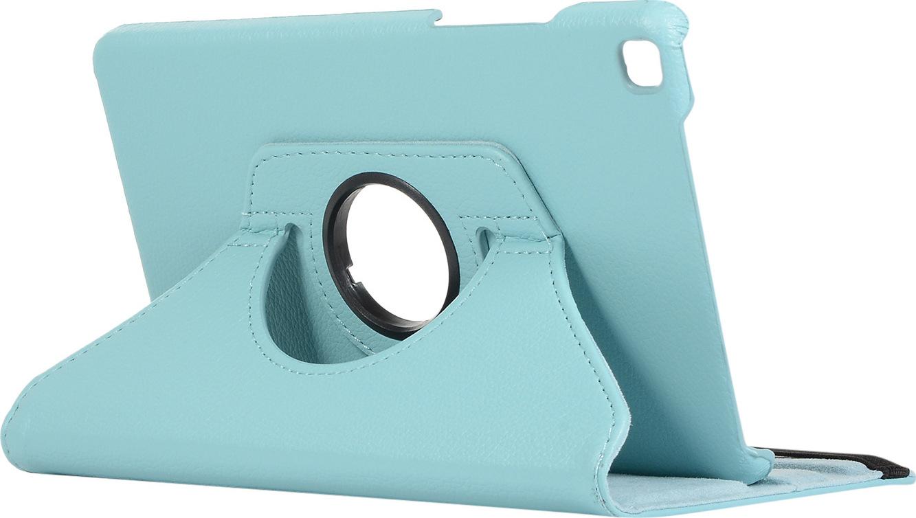 Чехол-подставка MyPads для Samsung Galaxy Tab E 8.0 SM-T377 на пластиковой основе кожаный поворотный роторный оборотный с трансформацией в подставку голубой