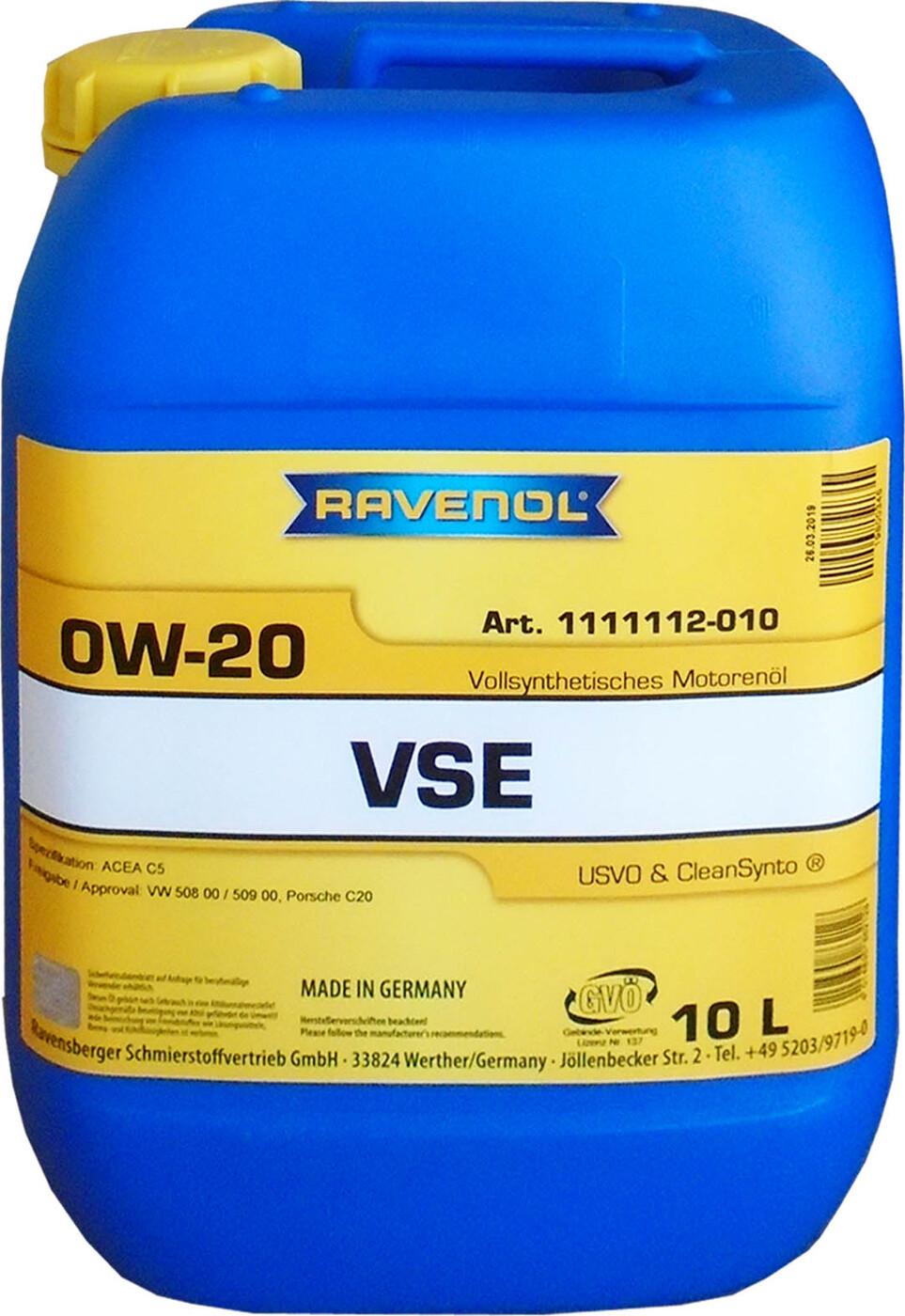 Моторное масло RAVENOL VSE SAE 0W-20 (10л)