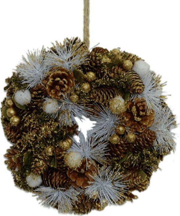 Декор новогодний, DN-38989, золотой, белый, диаметр 25 см