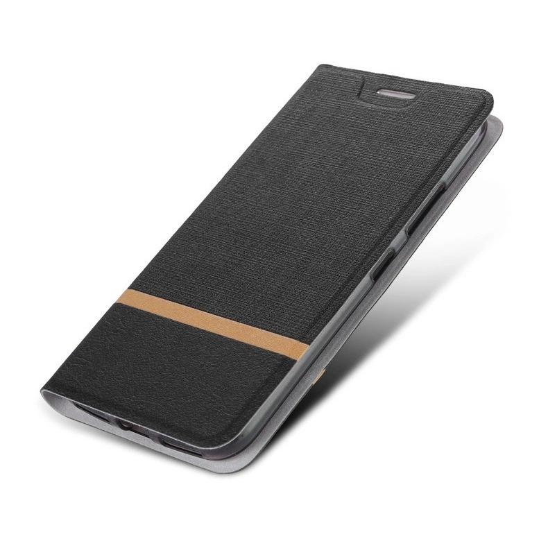 Чехол-книжка MyPads для Nokia 7.2/ Nokia 6.2 из водоотталкивающей ткани под джинсу с вставкой под кожу черный