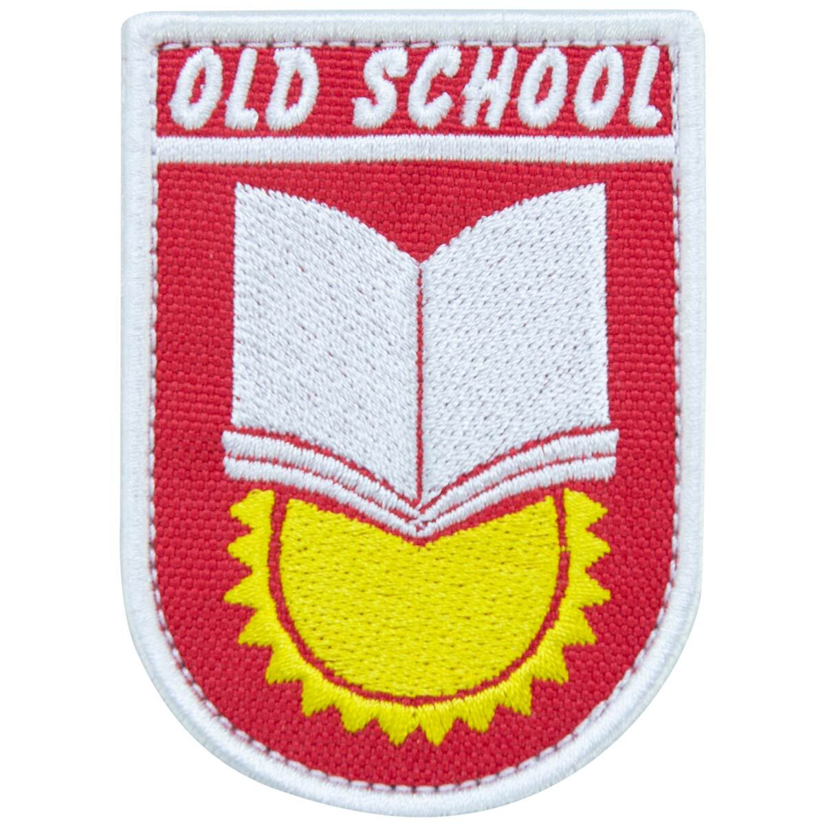 """Нашивка (шеврон патч patch)  """"OLD SCHOOL"""" тактическая вышитая на липуче 8х5,5 красная"""