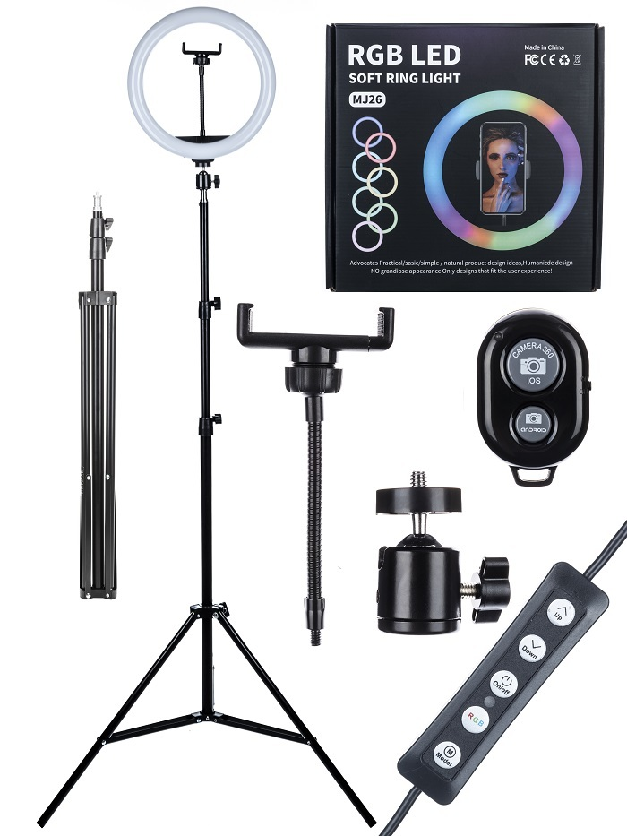 Кольцевая лампа со штативом MJ26 цветная. Для фото и видеосъёмки 26 см С держателем для телефона шириной 6 - 9 см на гибкой ножке, штатив металлический с креплением 1/4 на металлической шаровой. С пультом на проводе+Bluetooth пульт. USB