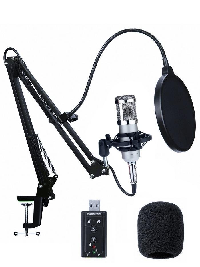 Стационарный микрофон Raygood BM800 с настольной стойкой - пантограф, 2 плеча по 36 см, с поп фильтром и (звуковой картой). Чёрный.