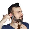 Трафарет для бритья бороды и усов MANECODE Бритвенный набор для практичной домашней стрижки волос на лице, шаблон для создания чёткой линии щетины,   лекало барбера с расческой изготовлен из гипоаллергенного пластика (прозрачный) - изображение