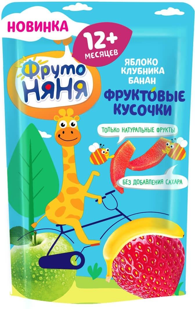 Десерт для детей ФрутоНяня Фруктовые кусочки из яблок и клубники, 16 г  #1