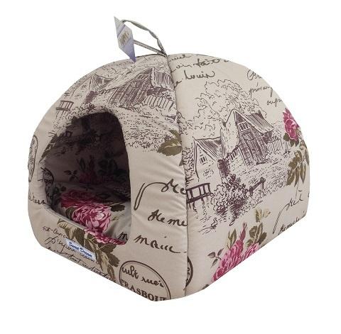 Мягкий домик Домик для кошек Сладкий сон № 2, розы, 42 х 42 х 38 см  #1