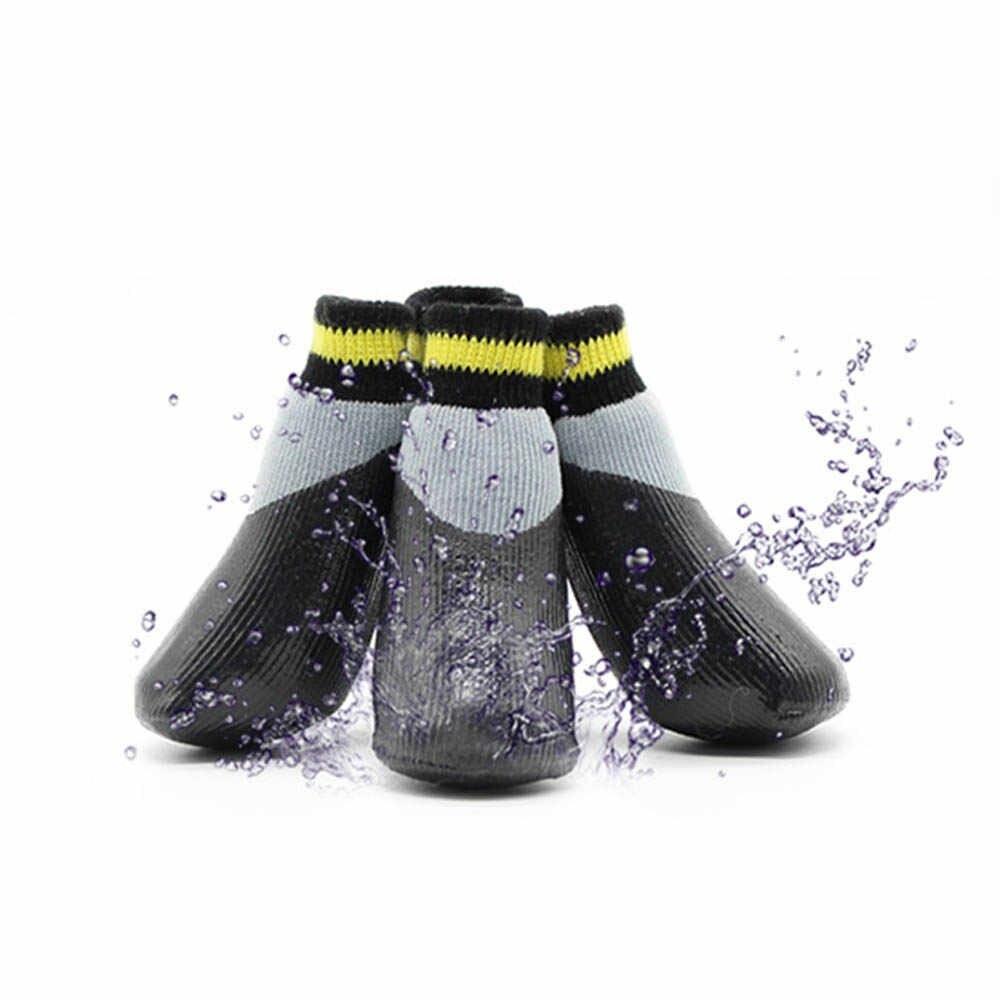 Прорезиненные теплые носки для собак Грызлик Ам, Цвет Серый с желтым, Размер М (A-37мм, B-45мм, C-30мм, #1