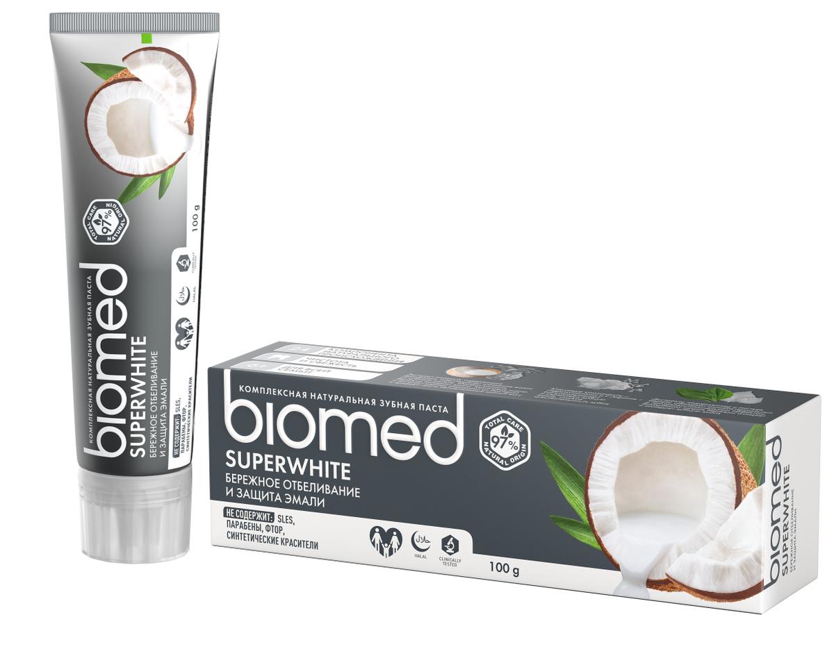 Biomed Зубная паста Superwhite, для чувствительной эмали, кокос, 100 г  #1