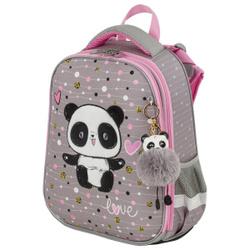 Ранец / рюкзак / портфель школьный для девочки первоклассницы Brauberg Premium, 2 отделения, с брелком, Funny panda, 38х29х16 см. Не забудьте купить!