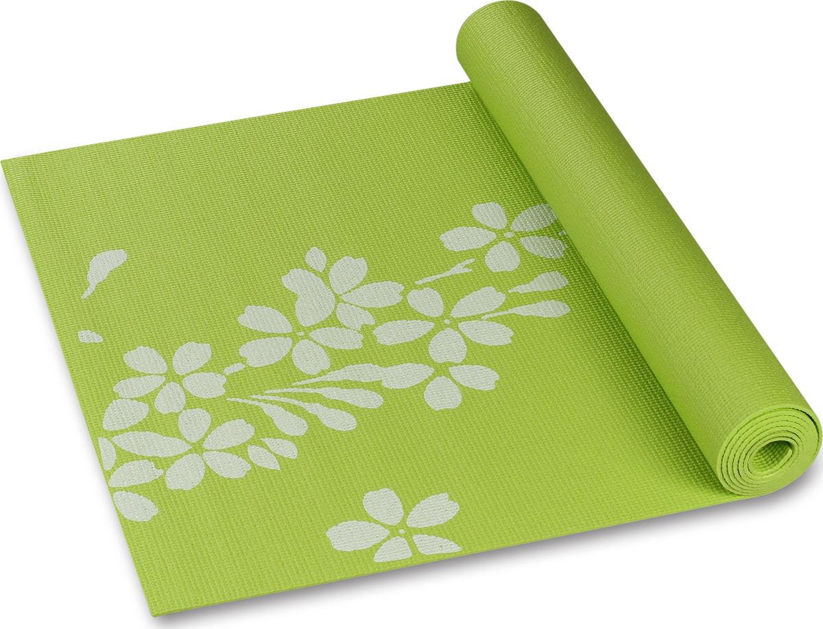 Коврик для йоги и фитнеса Indigo YG03P, зеленый, 173 х 61 х 0,3 см