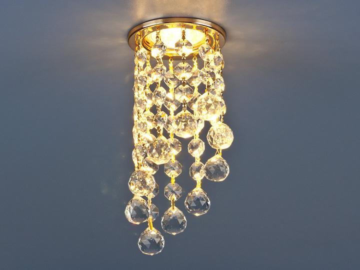 Встраиваемый светильник Elektrostandard точечный с хрусталем 205C C GD/WH, G5.3 встраиваемый светильник elektrostandard 7002 mr16 wh gd белый золото 4690389082528