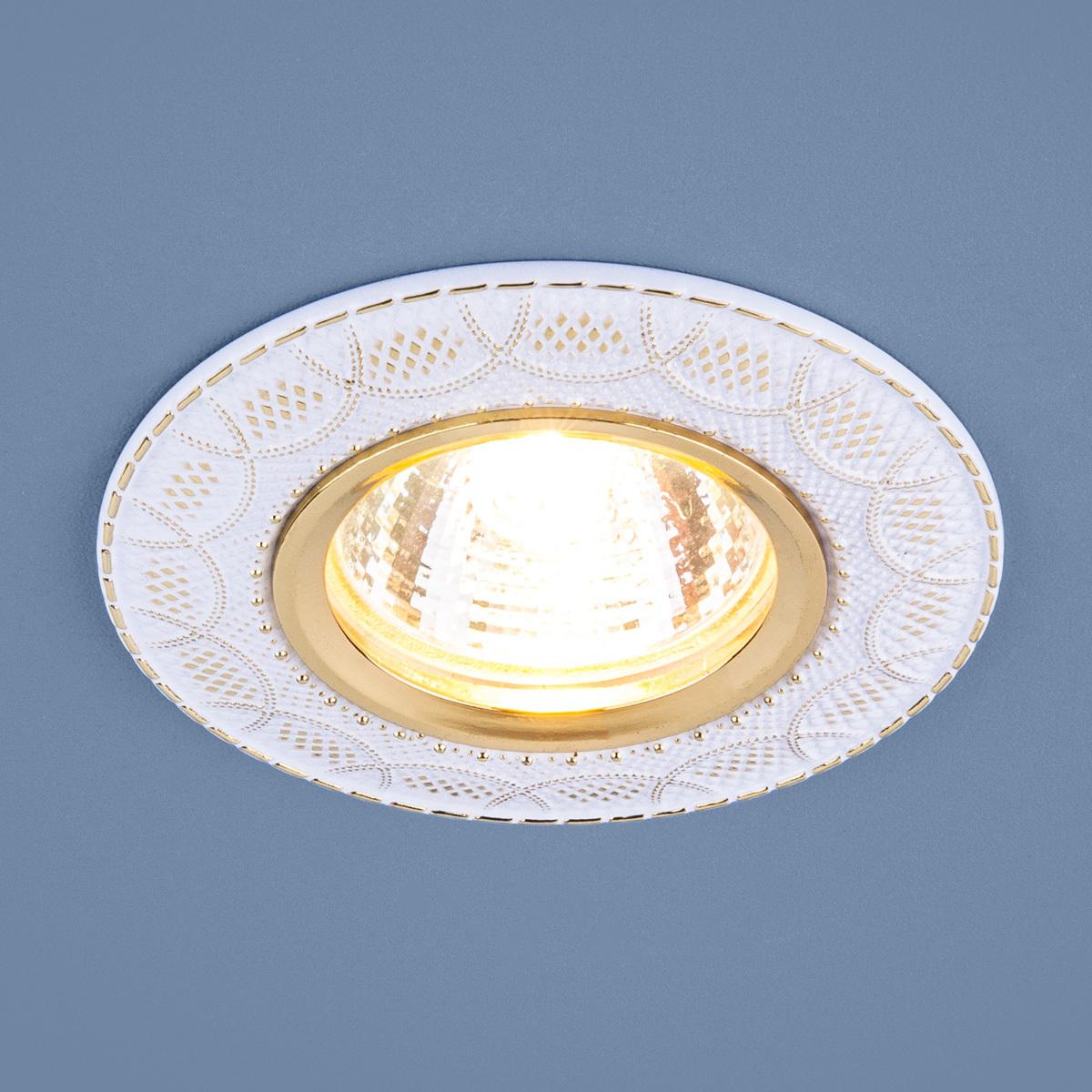 Встраиваемый светильник Elektrostandard 7010 MR16 WH/GD, G5.3 встраиваемый светильник elektrostandard 7002 mr16 wh gd белый золото 4690389082528