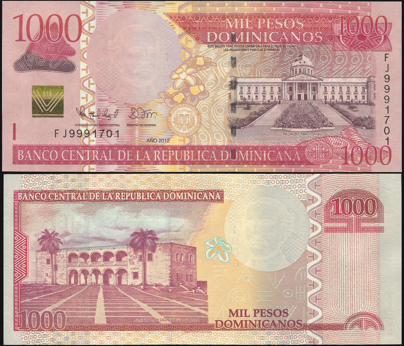 Банкнота. Доминиканская республика 1000 песо доминикано. 2012 UNC. Кат.P.187b