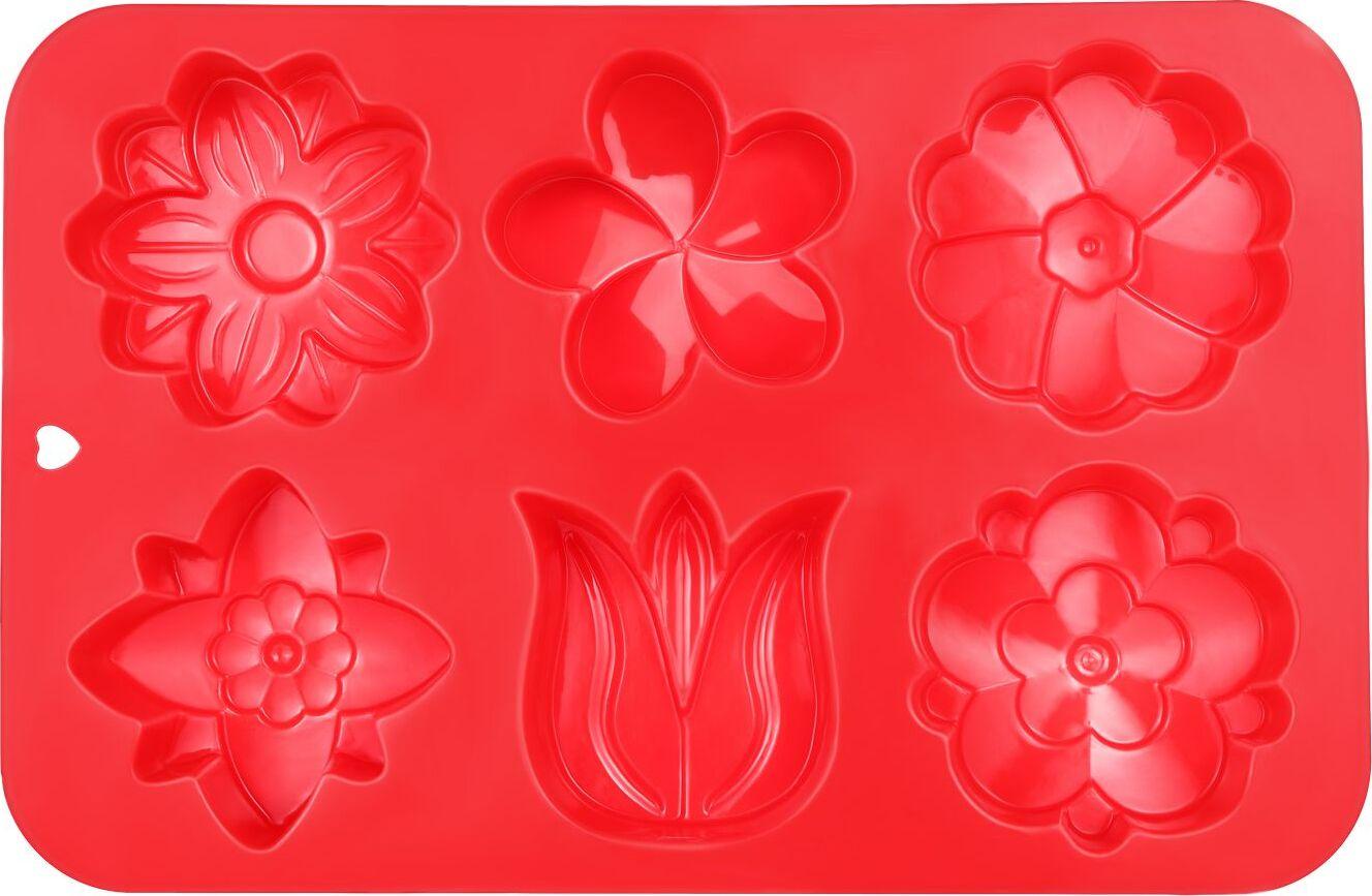 Силиконовая форма для выпечки печенья 6 ячеек в форме цветов красная